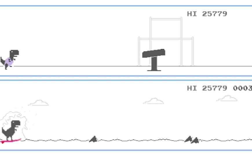 Olympijské hry v Tokiu 2020: Hra Google Dinosaur teraz obsahuje olympijské pochodne a ďalšie minihry