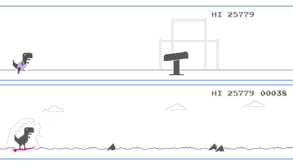 Dinosaurová hra v prehliadači Google Chrome